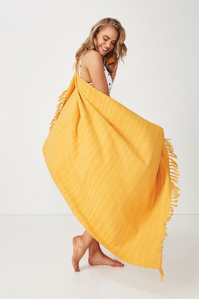 Shades Of Summer Lightweight Towel, MUSTARD
