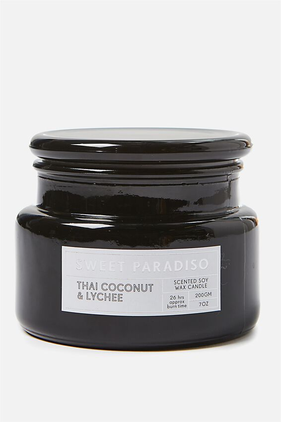 Large Glass Candle, BLACK/THAI COCONUT & LYCHEE