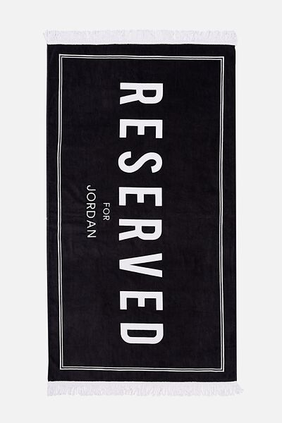 Personalised Rectangle Towel, BLACK RESERVED