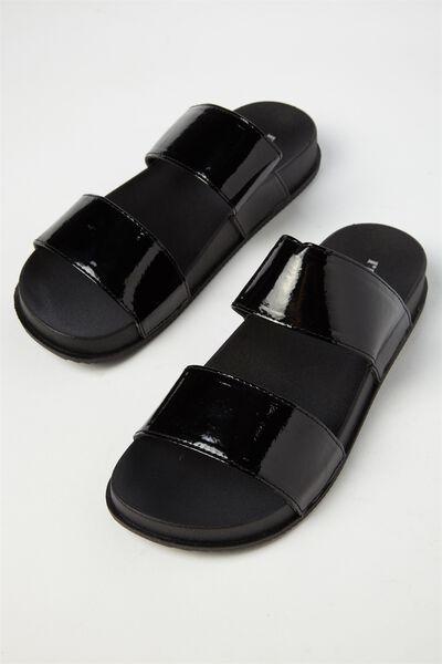 Baillie Double Strap Slide, BLACK PATENT