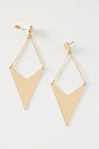 Geo Arrow Metal Earring, GOLD