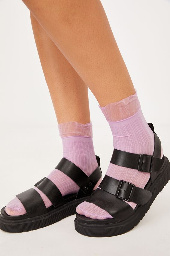 Sheer Frilled Ankle Sock, LILAC