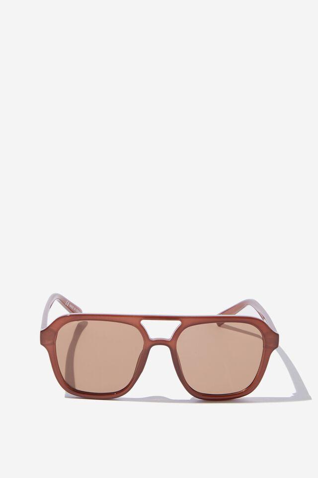 Jaz Oversized Aviator Sunglasses, CHOCOLATE