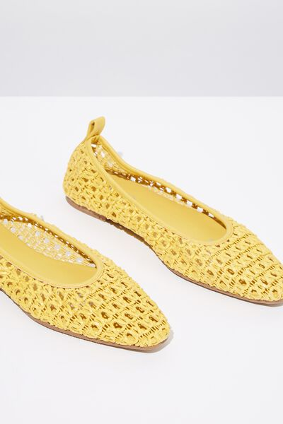 Ceylon Sqaure Toe Flat, SUNFLOWER