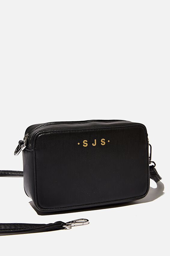 Personalised Stevie Boxy Cross Body Bag, BLACK