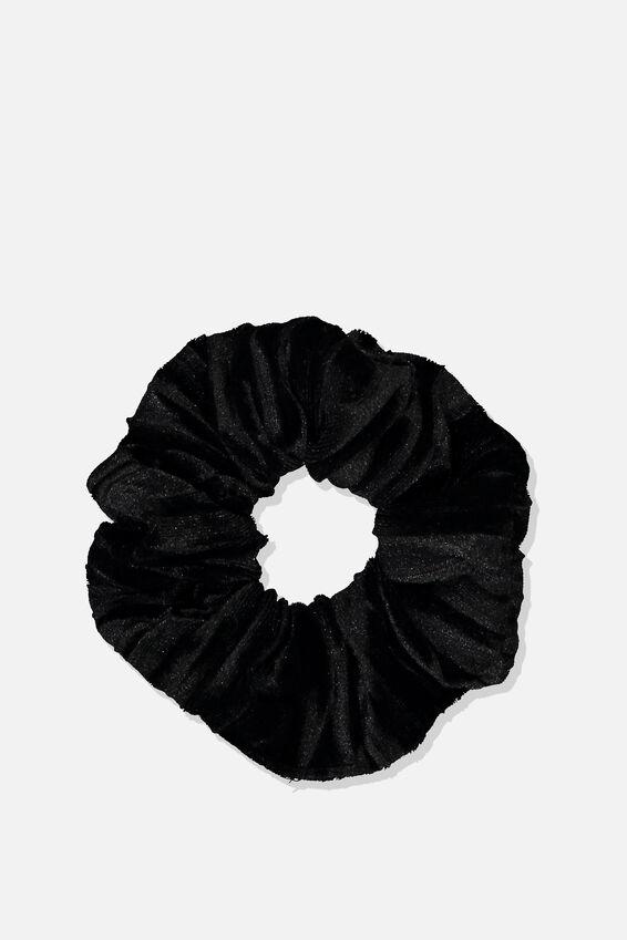 Luxe Scrunchie, BLACK VELVET CRINKLE