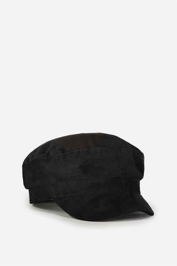 Bailey Baker Boy Cap, BLACK FAUX SUEDE