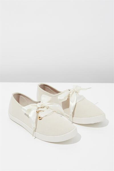 Indy Bow Plimsoll, STONE TWILL