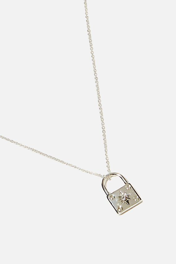 Premium Pendant Necklace, STERLING SILVER PLATED PADLOCK