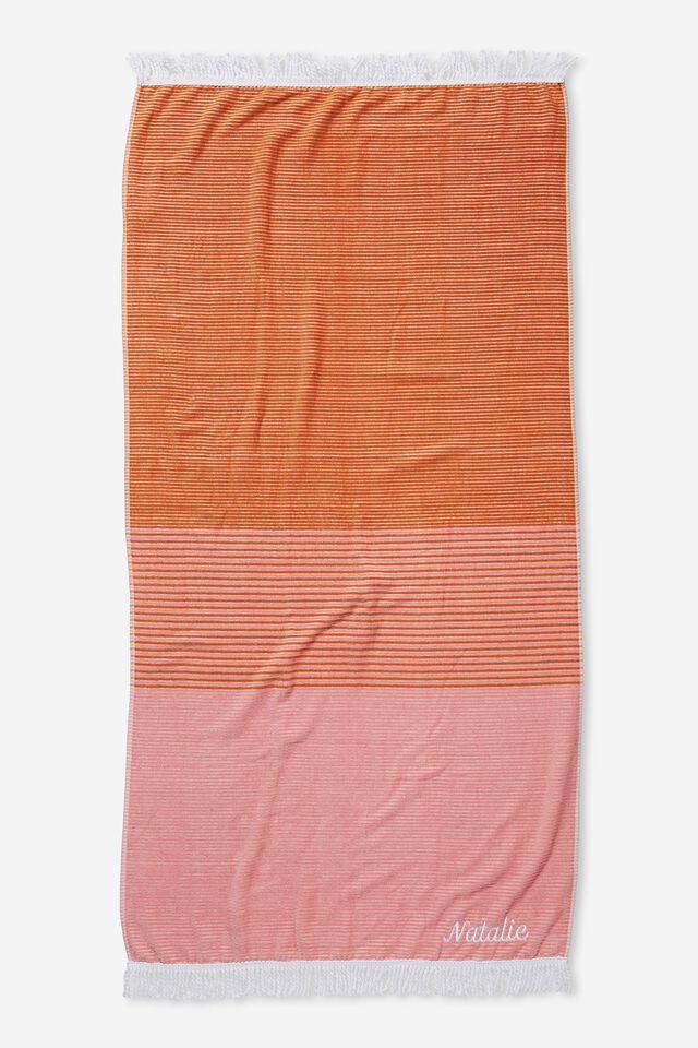 Personalised Bondi Rectangle Towel, CORAL COLOUR BLOCK