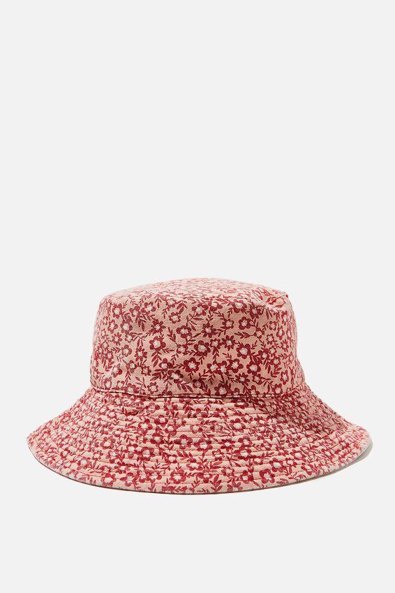 Elly Reversible Wide Brim Bucket Hat, PINK SOPHIE DITSY FLORAL