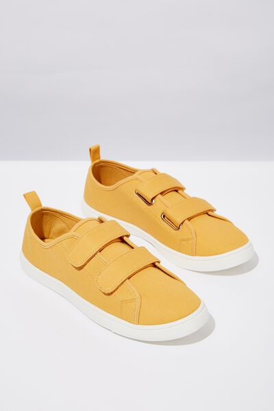 Isabelle Double Strap Plimsoll, MUSTARD TWILL