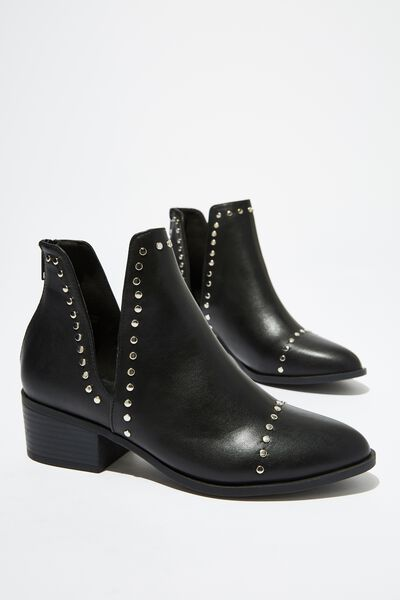 Eastwood Cut Out Boot, BLACK STUDS