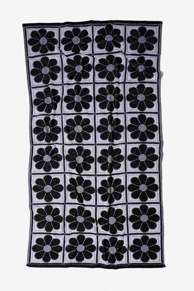 Bondi Rectangle Towel, BLACK AND WHITE RETRO FLORAL