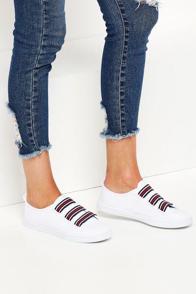 Olsen Elastic Slip On, WHITE/RED/NAVY