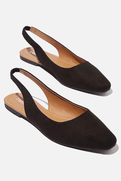 Essential Lili Square Toe Slingback, BLACK MICRO