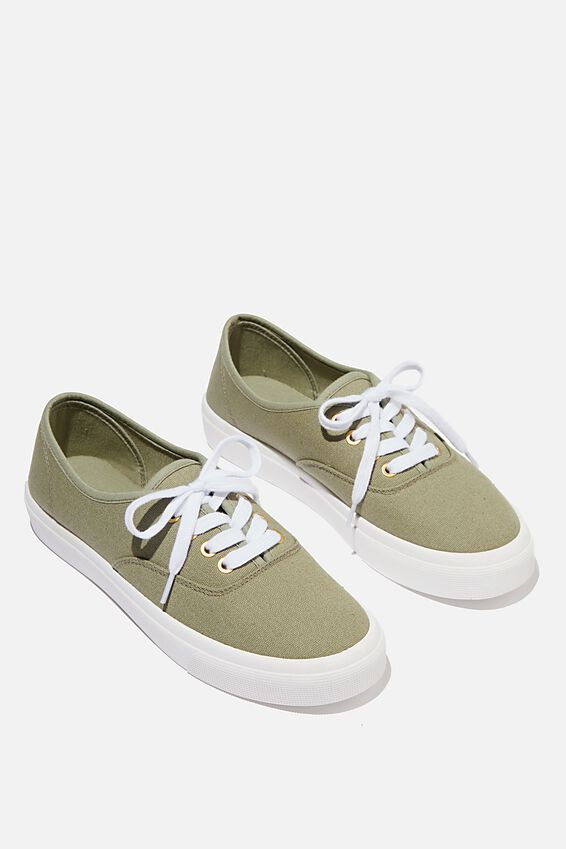 Jamie Lace Up Plimsoll, KHAKI CANVAS