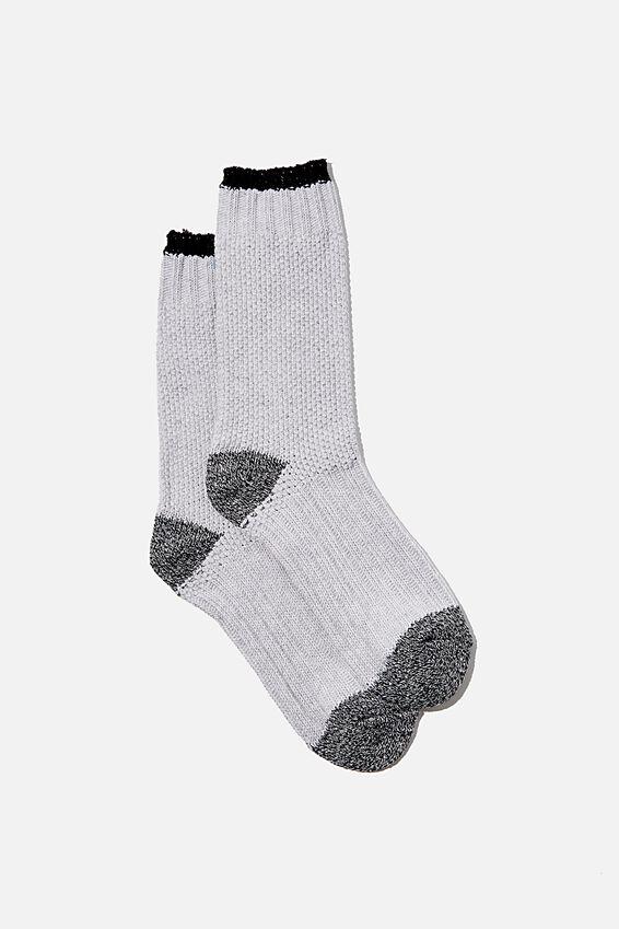 Colour Block Cosy Sock, BLACK/GREY MARLE