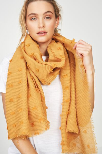 Penny Pleated Midweight Scarf, MUSTARD TEXTURE