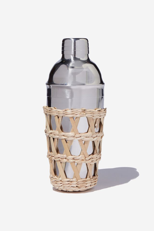 Rattan Cocktail Shaker, SILVER