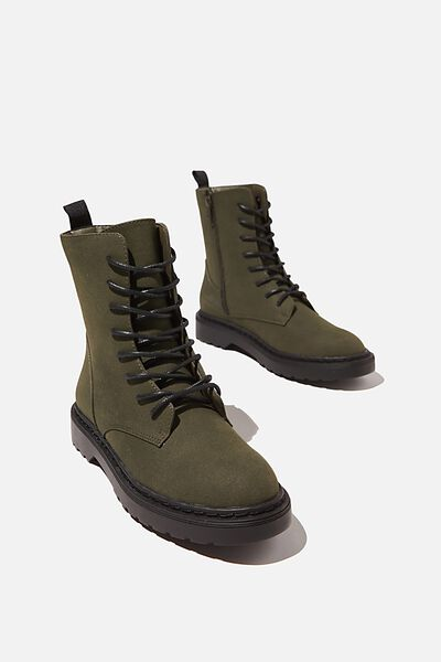 Freda Combat Lace Up Boot, KHAKI SUEDE PU