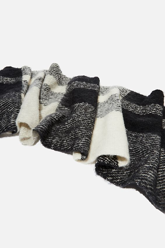 Pippa Brushed Tassel Scarf, BLACK AND WHITE CHECK