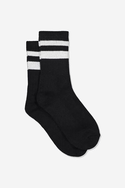Sporty Stripe Crew Sock, BLACK/WHITE TIPPING STRIPE