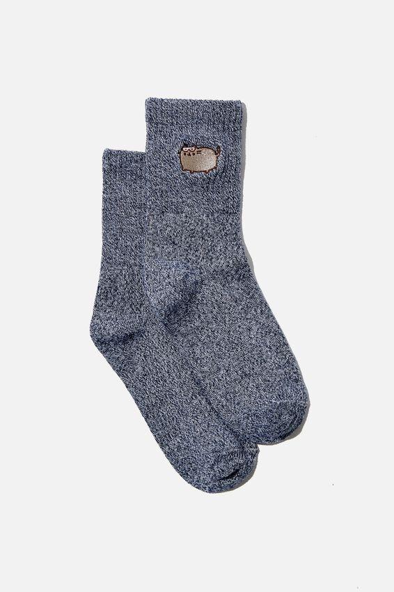 Fine Rib Sports Sock, LCN PUSHEEN NAVY MARLE