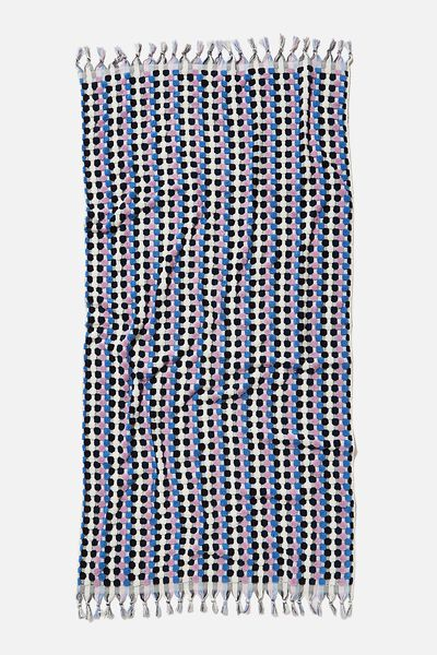 Cable Beach Towel, INK SEASIDE STRIPE