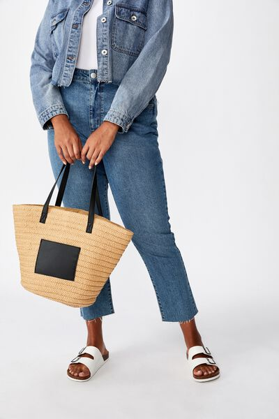 Basket Tote, NATURAL W BLACK PU