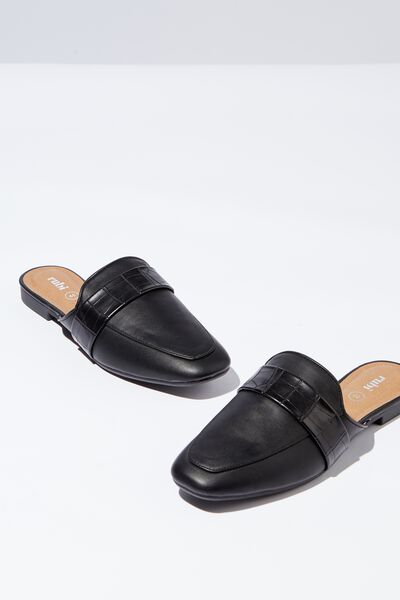 Aish Loafer Mule, BLACK