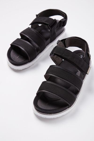 Bronte Webbing Sporty Sandal, BLACK