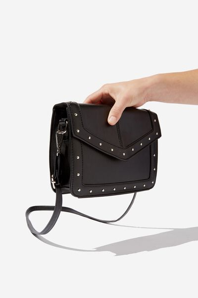 Sim Studded Cross Body Bag, BLACK W SILVER