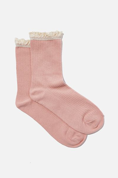 Lace Frill Crew Sock, DUSTY PINK