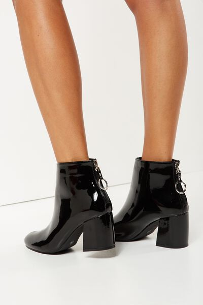Elise Ring Boot, BLACK PATENT