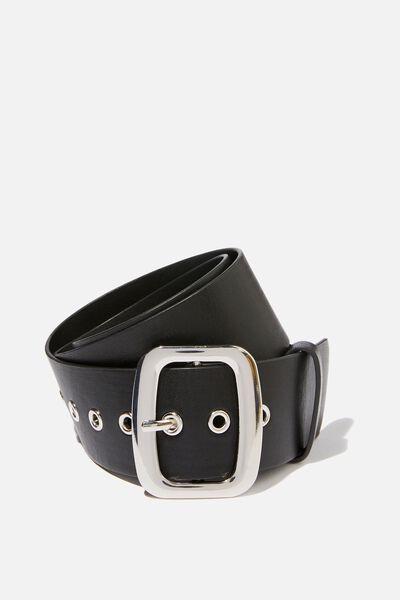 Romy Rectangle Belt, BLACK