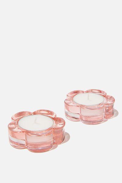 Glass Tealight Holder Set, PINK DAISY