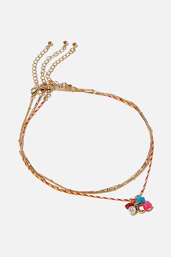 Holiday Beaded 3Pk Necklace Set, ORANGE CORD