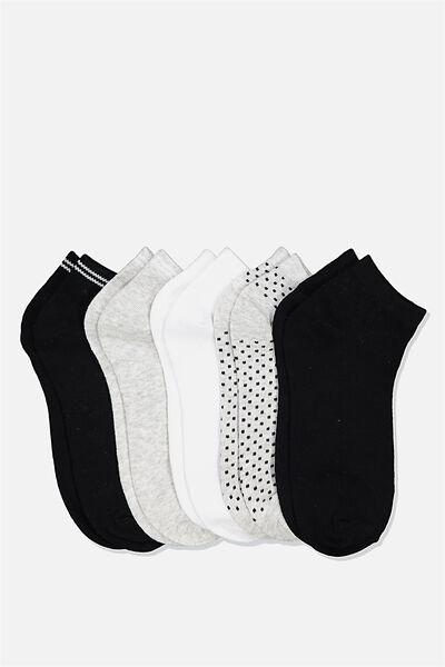 5Pk Ankle Sock, BLACK/WHITE/GREY SPOT AND STRIPE MIX
