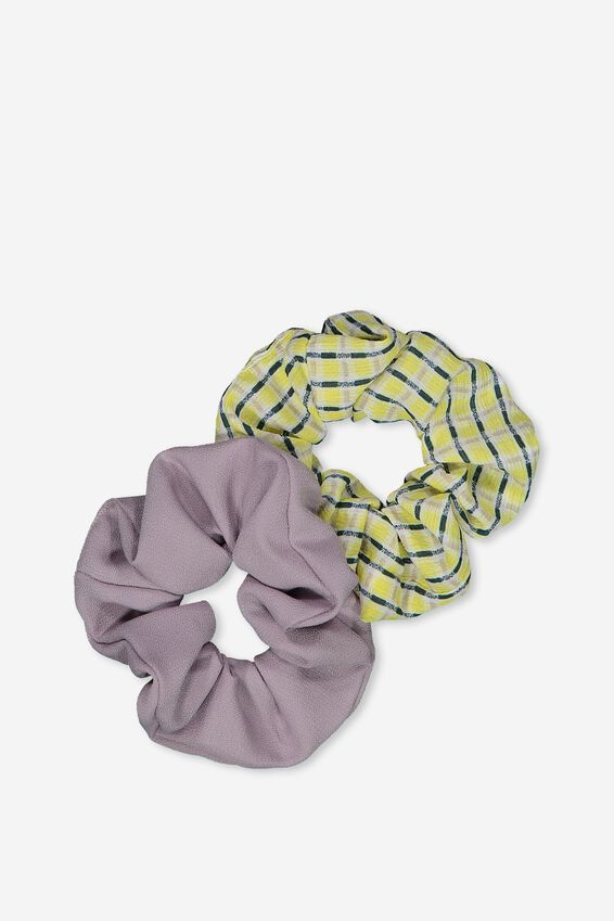 2Pk Scrunchie, YELLOW MINI CHECK