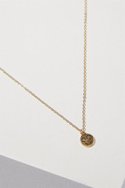 Mickey Stamp Necklace, GOLD
