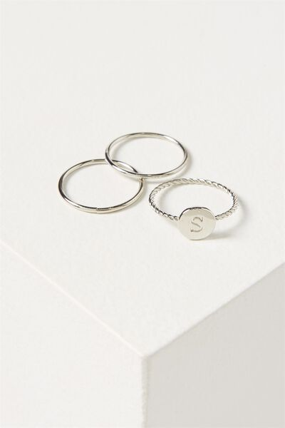 Letter Pendant Ring, SILVER - S