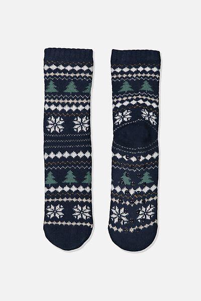 Coc Loungin Round Sock, CHRISTMAS FAIRISLE