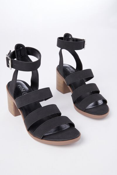 Harris Stack Heel, BLACK NUBUCK PU