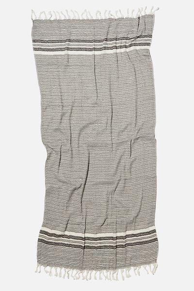 Coogee Lightweight Towel, BLACK PINSTRIPE