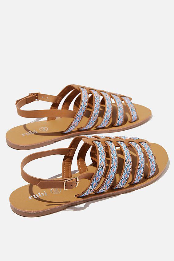 Miller Gladiator Sandal, TAN NUBUCK/ MULTI