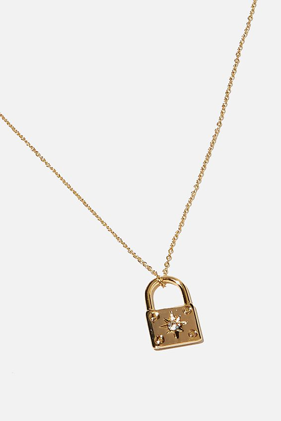 Premium Pendant Necklace, GOLD PLATED PADLOCK