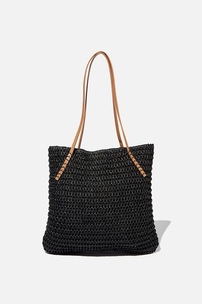 Woven Tote Bag, BLACK
