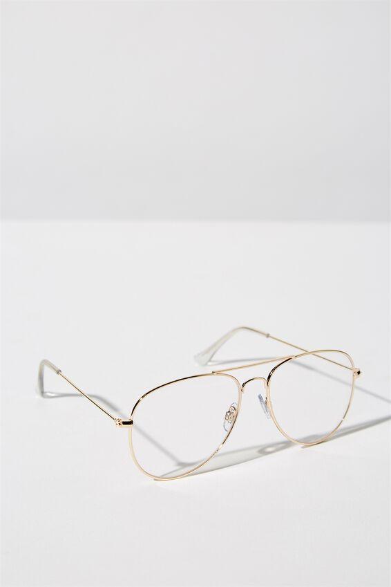 Arabella Metal Sunglasses, CLEAR