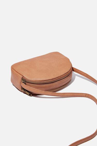 Double Zip Half Moon Bag, TAN
